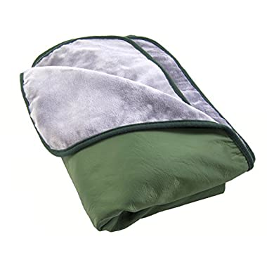 Somerlan Outdoor Blanket, Water Resistant and Windproof Nylon with Ultra Soft Fleece Lining for Camping, Stadium, Beach, Picnic - Large - Willow Green
