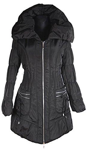 Italy Donna dames lagenlook ballon winterjas parka mantel warm 40 42 44 46 48 50 M L XL XXL zwart anorak