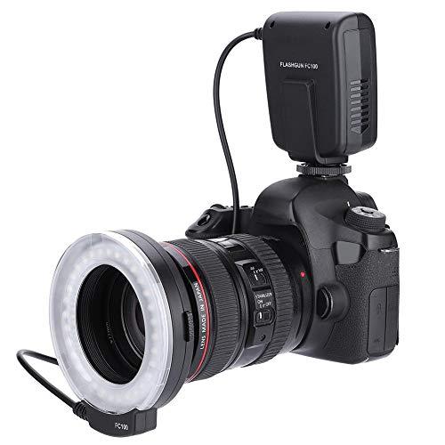 Topiky FC-100 Portable LED Macro Ring Flash 5500K Regolazione luminosità Speedlite Videocamera Kit Luce di riempimento con 8 adattatori Anello e Contr