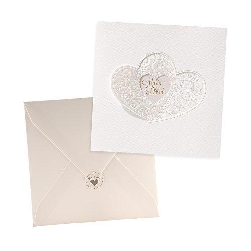 Weddix Klassische Einladungskarten Michelle, 3 Stück, für die Hochzeit, Creme mit Herzen - blanko Hochzeitseinladung mit Umschlag Siegeletikett