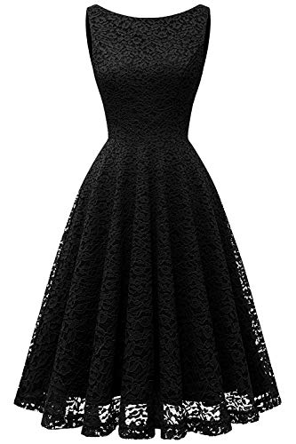 Bbonlinedress Vestito Donna in Pizzo Elegante Cerimonia Cocktail Matrimonio Senza Manica Black S