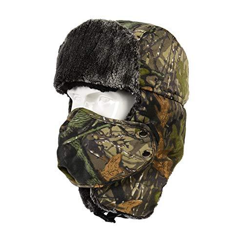 TAGVO Sombrero Trampero Camuflaje Invierno, Gorros de Aviador, Sombrero de Orejera Bombarderocon Prueba Viento Máscara, Sombrero de Caza Unisex para Esquiar Actividades Deportivas al Aire Libre