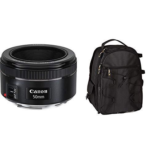 Canon 0570C005AA - Objetivo para cámara réflex (EF 50 mm, F/1.8 STM), Color Negro & Amazon Basics - Mochila para cámara réflex y Accesorios, Color Negro