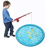 clifcragrocL Enganchar un Pato Pato Juego de Niños Juego de Pesca Inflable Pond Piscina con 5 patitos Set niños de educación Preescolar del Juguete