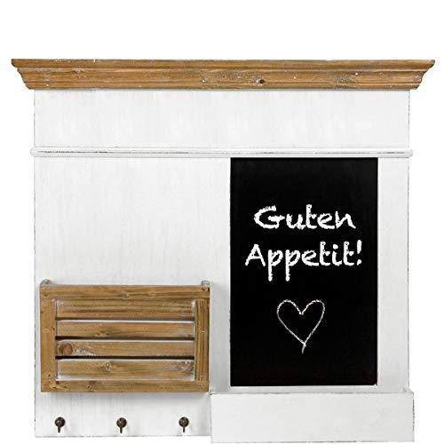 BUTLERS Campagne Memoboard 62x8x67,5 in Weiß - Schwarze Vintage Schiefertafel mit Haken und Kreideablage - Paulownia-Holz