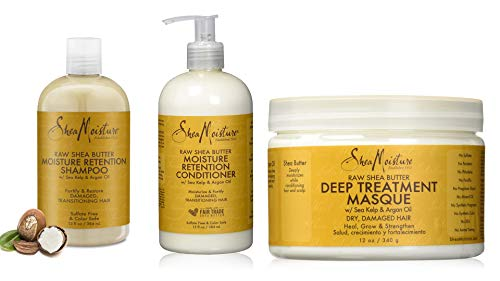 Raw Shea Butter Restorative Shampoo & Conditioner & Deep treatment Masque, Raw Shea Butter Moisture Retention Shampoo, Deep Treatment Masque set