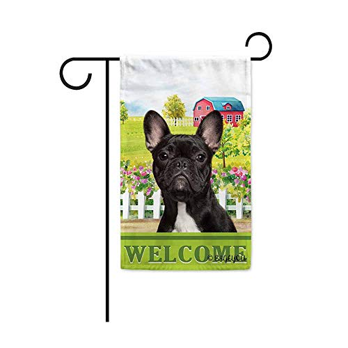 BAGEYOU Welcome A Lovely Dog Frenchie in The Country Garden Flag for Outside Beautiful Rustic Rural Landscape Red House Flowers Home Decor Banner 12.5X18 Inch Print Double Sided