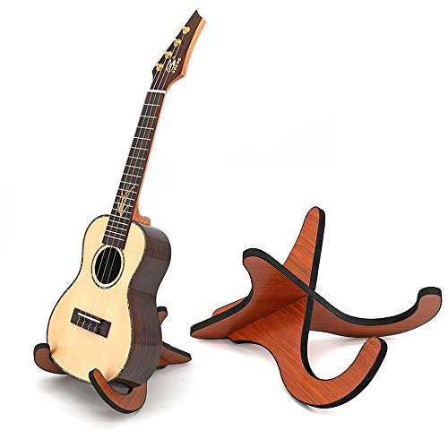 FutGlobal Wooden Ukelele Stand Holder Portable Musical Instrument Stand for Violin, Banjo, Ukelele