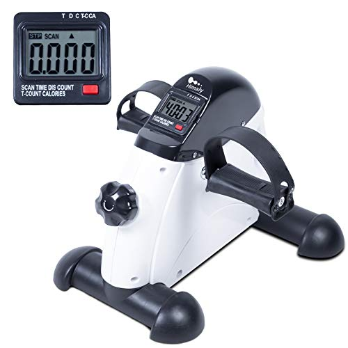 Under Desk Bike Pedal Exerciser, Peddler Exerciser, Foot Pedal Exerciser, Mini Exercise Bike Portable, Arm and Leg Exercise Equipment Cycle with Digital LCD Screen Display, White