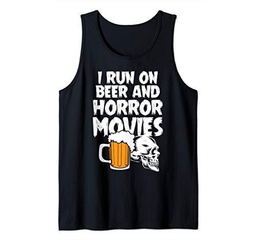 Corro con cerveza y películas de terror Disfraz de Halloween Camiseta sin Mangas