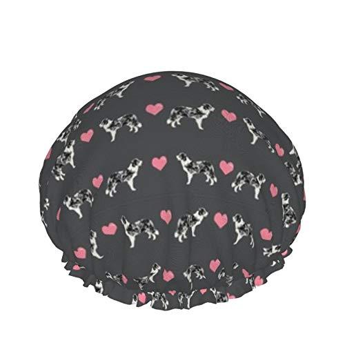 Doublelayer - Gorro de ducha impermeable para mujer, reutilizable, lavable, gorro de pelo largo (sombra gris borde Collie Love Hearts Cute Dog)