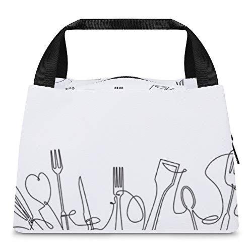 Bolsas frías para el almuerzo, bolsa para el almuerzo, bolsa de almacenamiento portátil, con aislamiento térmico, bolsas de pinic impermeables para mujeres y niñas, cubiertos con contorno de cocina