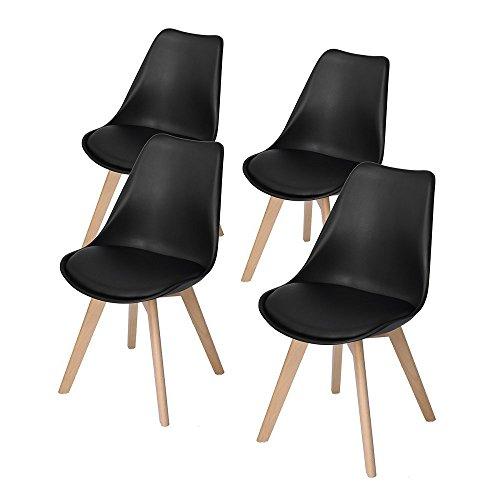 DORAFAIR 4 x Skandinavischen Retro Design Gepolsterter PP Esszimmerstühle Stuhl Küchenstuhl,mit Massivholz Buche Bein,Schwarz