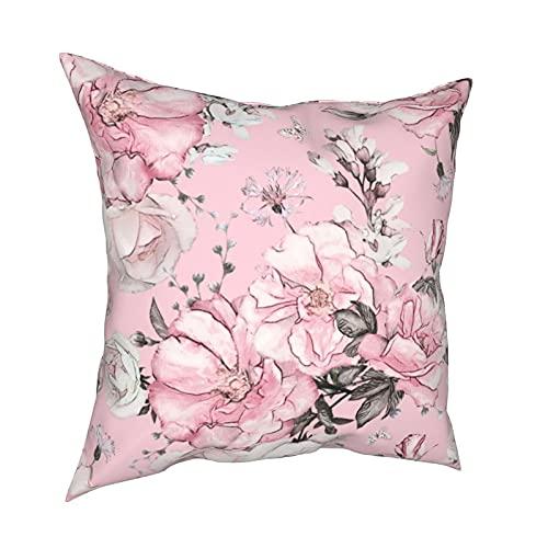 Throw Pillow Funda Fundas de Almohada 45x45cm Patrón sin Costuras con Flores y Hojas sobre Fondo Rosa Decoración para la decoración del hogar Oficina Sofá Holiday Bar Café Boda Coche