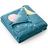 Mr. Sandman 5 lbs Weighted Blanket for Kids Twin Size Bed, Perfect for 40-60lb Girls/Boys Organic Cotton Heavy Blanket with PremiumGlass Beads - 36' x 48' Star Moon Blue