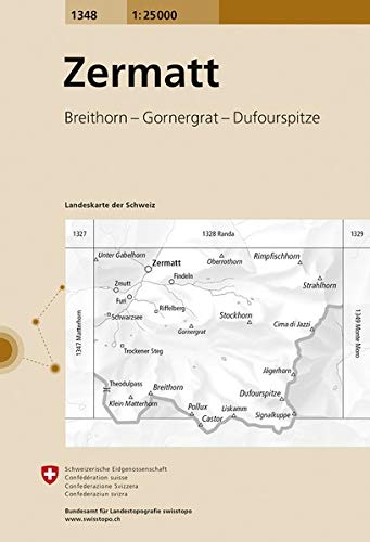 1348 Zermatt: Breithorn - Gornergrat - Dufourspitze (Landeskarte 1:25 000)