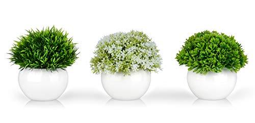 Mini Artificial Plants | Modern Farmhouse Plants Home Decor | Small Fake Plants | Office/Kitchen/Bathroom/Bedroom/Mantle/Shelf/Living Room/Table Decoration Faux Plant Set