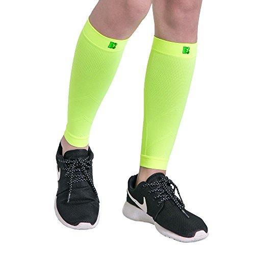 Bracoo LS70 Kompressionsstulpen – Beinlinge – Wadenkompression Klasse 1 – Laufstulpen | Steigerung der sportlichen Leistung beim Laufen, Radfahren & Fitness | L | gelb