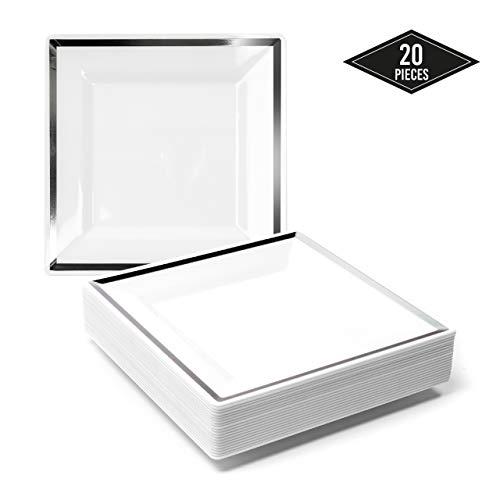 20 Elegante Kleine Quadratische Plastik Einwegteller mit Silbernem Rand, 16.5cm| Stabil & Mehrweg Partyteller Kunststoff| Weiß & Silber Einweggeschirr| Dessertteller für Hochzeit Geburtstage Partys.