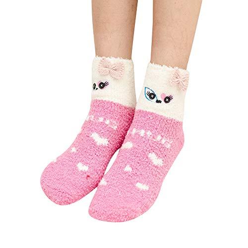ZZBO Fluffy Weihnachtsstrumpf Weihnachtsbaum Weihnachtsmann Streifen Herzform Tier Gestreift Flauschige Socken Winter Wärme Bunt Lange Socken Lustige Freizeit Kuschel Socken für Frauen Mädchen