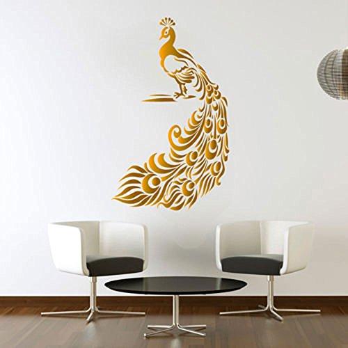 Pfau Golden Wandtattoo Vögel Aufkleber Kunst Wohnzimmer Vinyl Wandbild Grafiken Hall