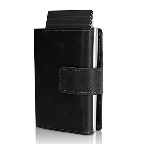 GUOSHUFANG Tarjetero Slim Wallet con pinza para billetes, aluminio y tarjetero, mini billetes, protección RFID, cartera para tarjetas y billetes de piel auténtica