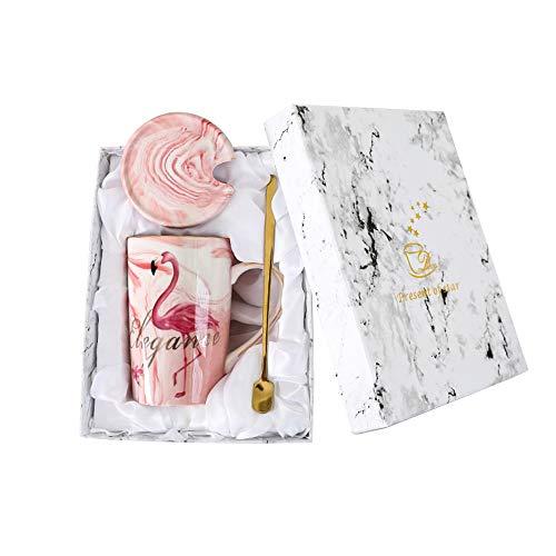Watenkliy Kaffeetasse, Mark Cup Flamingo Kaffeebecher Kaffeetasse aus Porzellan mit Deckel und Löffel als Geschenk, 400ml, Pink Geschenkbox