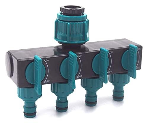 4 maneras de divisor de manguera de jardín - Splitter de manguera de agua de jardín de trabajo pesado, conector de manguera de válvula de bola para aspersor, grifo exterior, sistemas de riego por gote
