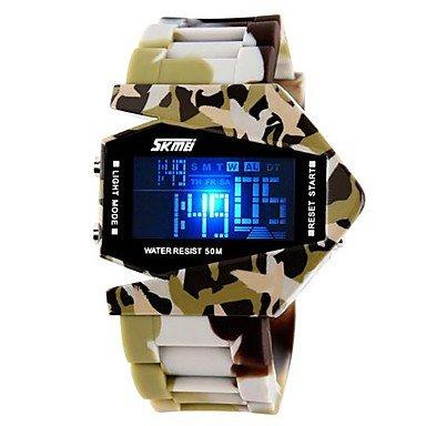 FENKOO Herren Militäruhr Japanischer Quartz LED/LCD/Kalender/Chronograph/Wasserdicht Silikon Band Blau/Braun/Grau