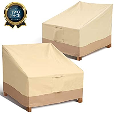 Leafbay Outdoor Chair Patio Furniture Covers - Heavy Duty & Waterproof Lounge Deep Seat Cover, Weatherproof Patio Covers for Backyard Veranda Lawn (2 Pack)