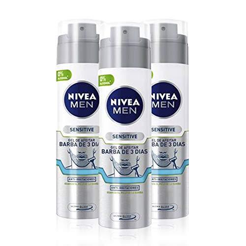 NIVEA MEN Sensitive Gel de Afeitar Barba de 3 Días 200 ml - 3 unidades