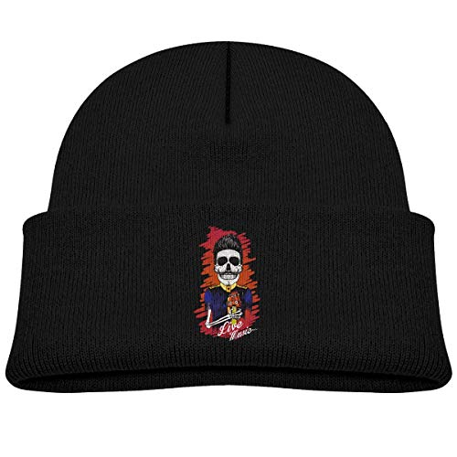 MinnSok Chapeau Chaud d'hiver de Fille de garçon de bébé, Chapeau de Bonneterie d'enfants, Funny Skull Love Rock Winter Hat Knitted Skull Cap for Boys Girls Gray