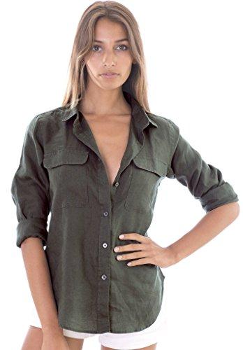 CAMIXA Camicia Donna in Puro Lino Due Tasche Camicetta Blusa Fresca Casual Top M Verde Oliva