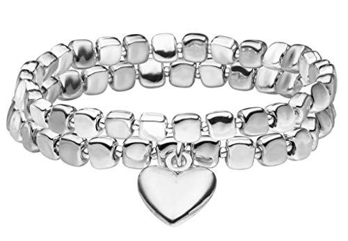 Tamaris Damen Metall Armband Becci 18 cm Silberfarben mit Nylon Zugband TF062