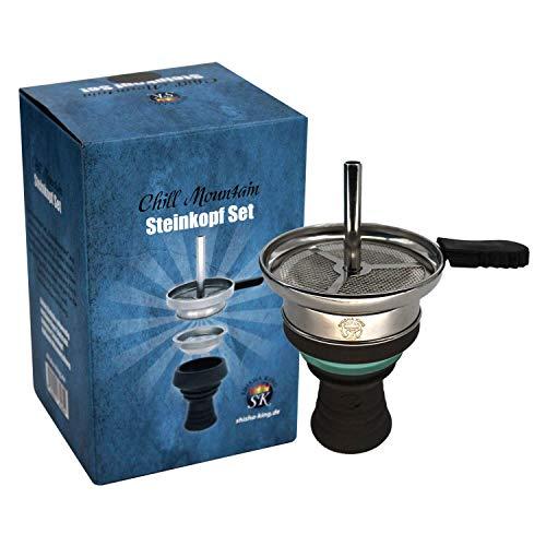 Shisha King® Shisha Kopf Premium Steinkopf Kaminkopf Set + Zubehör | V2A Kaminaufsatz inkl. Gummigriff + Kopfsieb | viel Rauch✓ intensiver Geschmack✓ (SkyBlue)