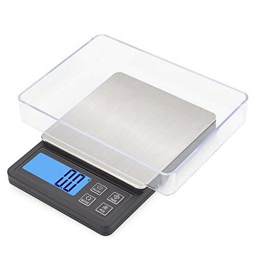 CWTC Escala de Bolsillo de Precisión 0.01g, Báscula Digital para Cocina de Acero Inoxidable con Retroiluminación Azul LCD Función de Tara Básculas de Joyerí báscula electrónica