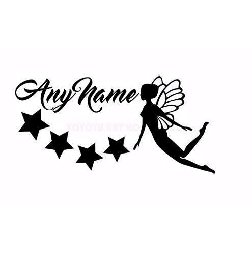 Personalisierter Name Fairy Stars Wandaufkleber Beliebiger Name Customade Mädchen Schlafzimmer Wanddekoration Aufkleber Kunst Vinyl Wandbild Für Kinderzimmer 57X30Cm