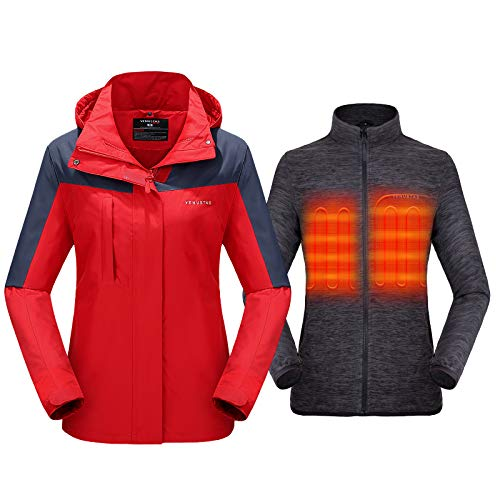 Venustas Women's 3-in-1 Heated Jacket with Battery Pack 5V,Ski Jacket Winter Jacket with Removable Hood Waterproof (X-Large)