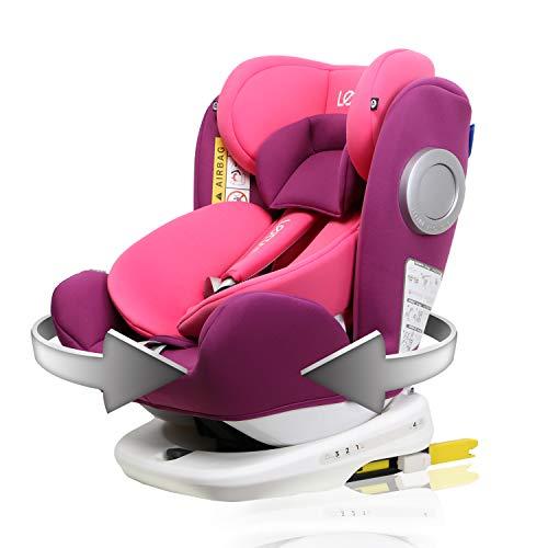 LETTAS Baby Autositz 360° drehbar Gruppe 0+1/2/3 (0-36 kg/0-12 Year) mit Protektoren seitliche Isofix Top Tether ECE R44/04 (Rose_ISOFIX)