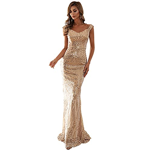Lin Lin Q Women s Maxi Formal Off Shoulder Sequin Dress, Backless Sleeveless Slim fit Mermaid Evening Party Gowns Gold