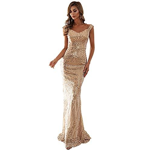 Miss ord Women's Formal V Neck Sequin Evening Prom Dresses, Mermaid...