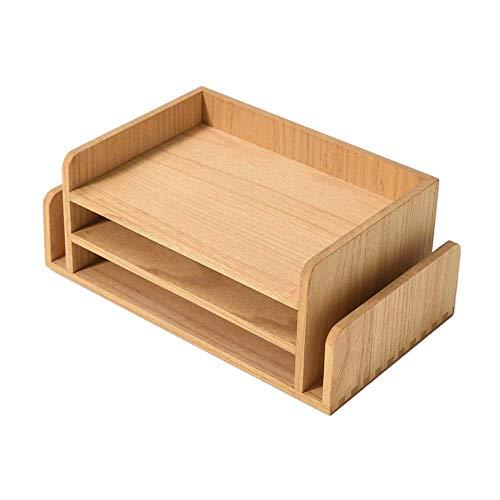 Vassoio per documenti da ufficio a 3 ripiani in legno, per posta, cancelleria, accessori da scrivania