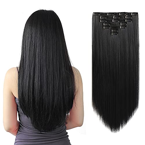 SYXLCYGG Black Hair Extensions,Clip on Hair Extensions 22'Straight...