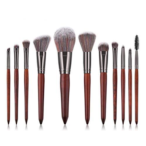 Pinceaux de Maquillage Premium 11 Pinceau De Maquillage Pinceau Poudre Lâche Pinceau Ombre À Paupières Brosse en Bois Manche Haute Qualité Portable Brosse À Maquillage Redwood (Color : Redwood)