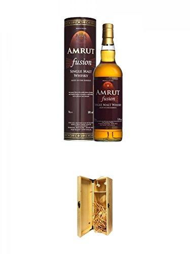 Amrut Fusion Indischer Whisky 0,7 Liter + 1a Whisky Holzbox für 1 Flasche mit Hakenverschluss