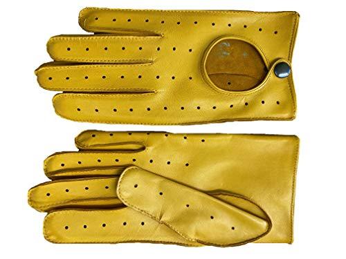 Hungant Herren Autofahrer Handschuhe aus Schafsleder Gelb (Gelb, 8)