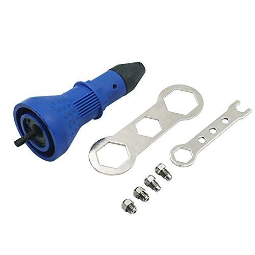 4EVERHOPE Akku-Nietpistole, Elektrischer Bohrgerät-Werkzeugsatz-Nieten-Adapter Setzen Sie das Muttern-Hand-Elektrowerkzeug-Zubehör EIN (Blau)