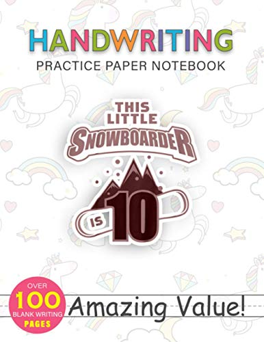 Notebook Handwriting Practice Paper for Kids Kids 10th Birthday Boys Snowboard Kid Boarder 10 Year Old: 114 Pages, Weekly, PocketPlanner, Hourly, 8.5x11 inch, Daily Journal, Journal, Gym