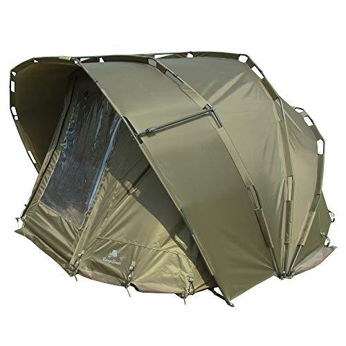 CampFeuer Angelzelt Typhoon I 2 Mann Karpfenzelt für Angler mit 10000 mm Wassersäule I wasserdicht I 2 Mann Bivvy Tent Anglerzelt I Fischerzelt mit Boden