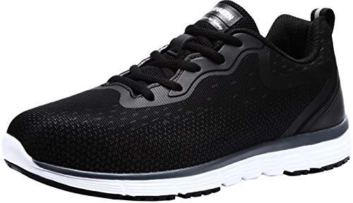 LARNMERN Steel Toe Shoes Men, Safety Work Sneakers Lightweight Industrial Construction Shoe(9 Black)